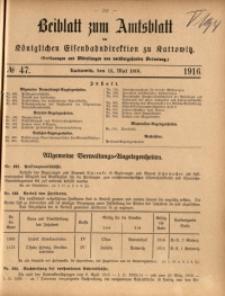 Beiblatt zum Amtsblatt der Königlischen Eisenbahndirektion zu Kattowitz, 1916, nr47