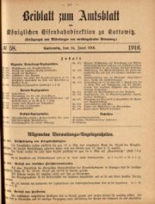 Beiblatt zum Amtsblatt der Königlischen Eisenbahndirektion zu Kattowitz, 1916, nr58