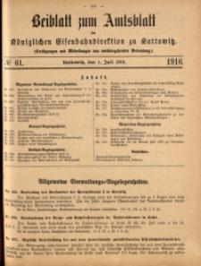 Beiblatt zum Amtsblatt der Königlischen Eisenbahndirektion zu Kattowitz, 1916, nr62