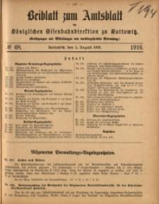 Beiblatt zum Amtsblatt der Königlischen Eisenbahndirektion zu Kattowitz, 1916, nr68
