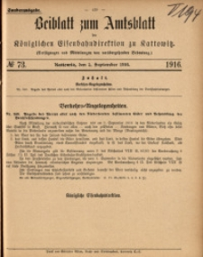 Beiblatt zum Amtsblatt der Königlischen Eisenbahndirektion zu Kattowitz, 1916, nr73