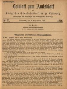 Beiblatt zum Amtsblatt der Königlischen Eisenbahndirektion zu Kattowitz, 1916, nr75