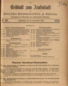 Beiblatt zum Amtsblatt der Königlischen Eisenbahndirektion zu Kattowitz, 1916, nr90