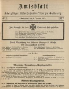 Amtsblatt der Königlichen Eisenbahndirektion zu Kattowitz, 1917, nr1