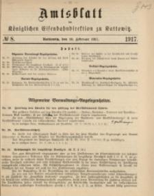 Amtsblatt der Königlichen Eisenbahndirektion zu Kattowitz, 1917, nr8