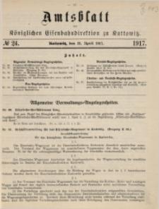 Amtsblatt der Königlichen Eisenbahndirektion zu Kattowitz, 1917, nr24