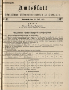 Amtsblatt der Königlichen Eisenbahndirektion zu Kattowitz, 1917, nr41