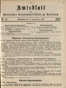 Amtsblatt der Königlichen Eisenbahndirektion zu Kattowitz, 1917, nr51