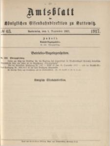 Amtsblatt der Königlichen Eisenbahndirektion zu Kattowitz, 1917, nr63