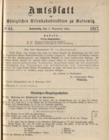 Amtsblatt der Königlichen Eisenbahndirektion zu Kattowitz, 1917, nr64