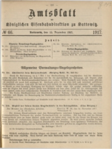 Amtsblatt der Königlichen Eisenbahndirektion zu Kattowitz, 1917, nr66