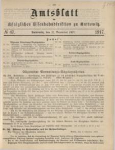 Amtsblatt der Königlichen Eisenbahndirektion zu Kattowitz, 1917, nr67