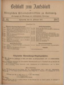 Beiblatt zum Amtsblatt der Königlischen Eisenbahndirektion zu Kattowitz, 1917, nr12