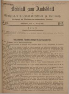 Beiblatt zum Amtsblatt der Königlischen Eisenbahndirektion zu Kattowitz, 1917, nr18