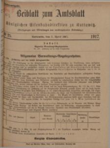 Beiblatt zum Amtsblatt der Königlischen Eisenbahndirektion zu Kattowitz, 1917, nr25