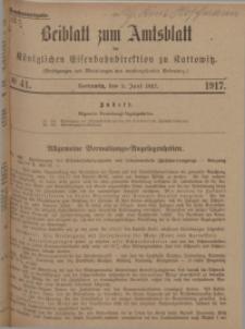 Beiblatt zum Amtsblatt der Königlischen Eisenbahndirektion zu Kattowitz, 1917, nr41