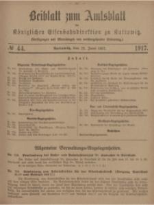 Beiblatt zum Amtsblatt der Königlischen Eisenbahndirektion zu Kattowitz, 1917, nr44