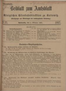 Beiblatt zum Amtsblatt der Königlischen Eisenbahndirektion zu Kattowitz, 1917, nr77