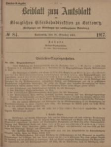 Beiblatt zum Amtsblatt der Königlischen Eisenbahndirektion zu Kattowitz, 1917, nr84