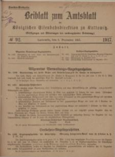 Beiblatt zum Amtsblatt der Königlischen Eisenbahndirektion zu Kattowitz, 1917, nr92