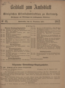 Beiblatt zum Amtsblatt der Königlischen Eisenbahndirektion zu Kattowitz, 1917, nr95