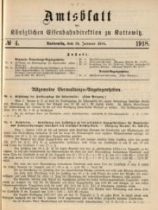 Amtsblatt der Königlichen Eisenbahndirektion zu Kattowitz, 1918, nr4
