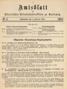 Amtsblatt der Königlichen Eisenbahndirektion zu Kattowitz, 1918, nr6