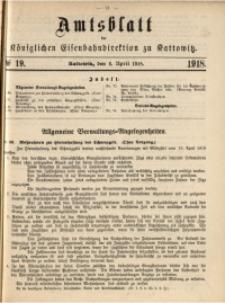 Amtsblatt der Königlichen Eisenbahndirektion zu Kattowitz, 1918, nr19
