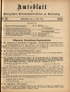 Amtsblatt der Königlichen Eisenbahndirektion zu Kattowitz, 1918, nr25
