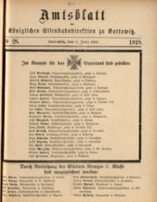 Amtsblatt der Königlichen Eisenbahndirektion zu Kattowitz, 1918, nr28