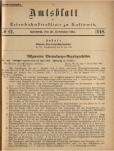 Amtsblatt der Königlichen Eisenbahndirektion zu Kattowitz, 1918, nr61