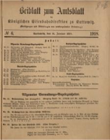 Beiblatt zum Amtsblatt der Königlischen Eisenbahndirektion zu Kattowitz, 1918, nr6