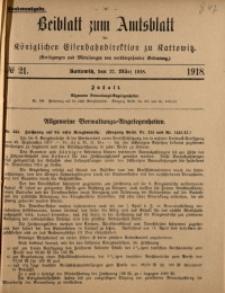 Beiblatt zum Amtsblatt der Königlischen Eisenbahndirektion zu Kattowitz, 1918, nr21