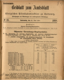 Beiblatt zum Amtsblatt der Königlischen Eisenbahndirektion zu Kattowitz, 1918, nr35