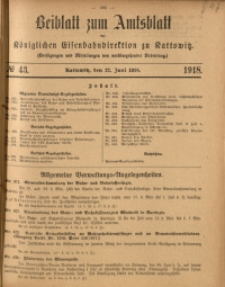 Beiblatt zum Amtsblatt der Königlischen Eisenbahndirektion zu Kattowitz, 1918, nr43