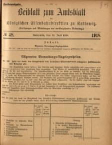 Beiblatt zum Amtsblatt der Königlischen Eisenbahndirektion zu Kattowitz, 1918, nr48