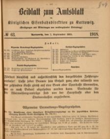Beiblatt zum Amtsblatt der Königlischen Eisenbahndirektion zu Kattowitz, 1918, nr63