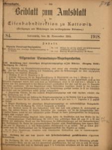 Beiblatt zum Amtsblatt der Königlischen Eisenbahndirektion zu Kattowitz, 1918, nr84