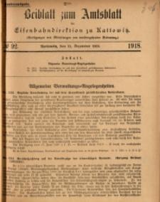 Beiblatt zum Amtsblatt der Königlischen Eisenbahndirektion zu Kattowitz, 1918, nr92
