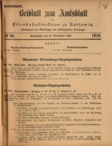 Beiblatt zum Amtsblatt der Königlischen Eisenbahndirektion zu Kattowitz, 1918, nr96