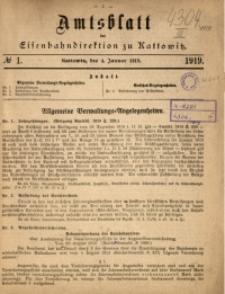 Amtsblatt der Königlichen Eisenbahndirektion zu Kattowitz, 1919, nr1