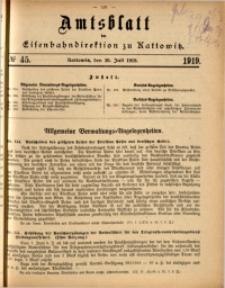 Amtsblatt der Königlichen Eisenbahndirektion zu Kattowitz, 1919, nr45