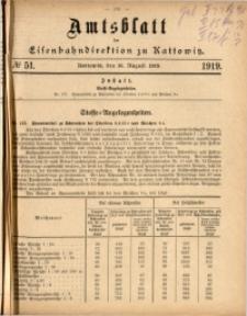 Amtsblatt der Königlichen Eisenbahndirektion zu Kattowitz, 1919, nr51