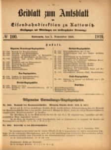 Beiblatt zum Amtsblatt der Königlischen Eisenbahndirektion zu Kattowitz, 1919, nr100