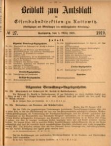 Beiblatt zum Amtsblatt der Königlischen Eisenbahndirektion zu Kattowitz, 1919, nr27