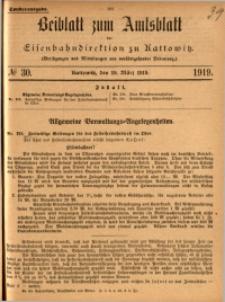 Beiblatt zum Amtsblatt der Königlischen Eisenbahndirektion zu Kattowitz, 1919, nr30