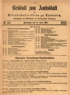 Beiblatt zum Amtsblatt der Königlischen Eisenbahndirektion zu Kattowitz, 1919, nr42