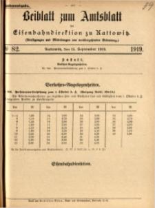 Beiblatt zum Amtsblatt der Königlischen Eisenbahndirektion zu Kattowitz, 1919, nr82