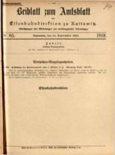 Beiblatt zum Amtsblatt der Königlischen Eisenbahndirektion zu Kattowitz, 1919, nr85