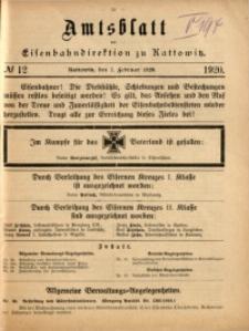 Amtsblatt der Königlichen Eisenbahndirektion zu Kattowitz, 1920, nr12